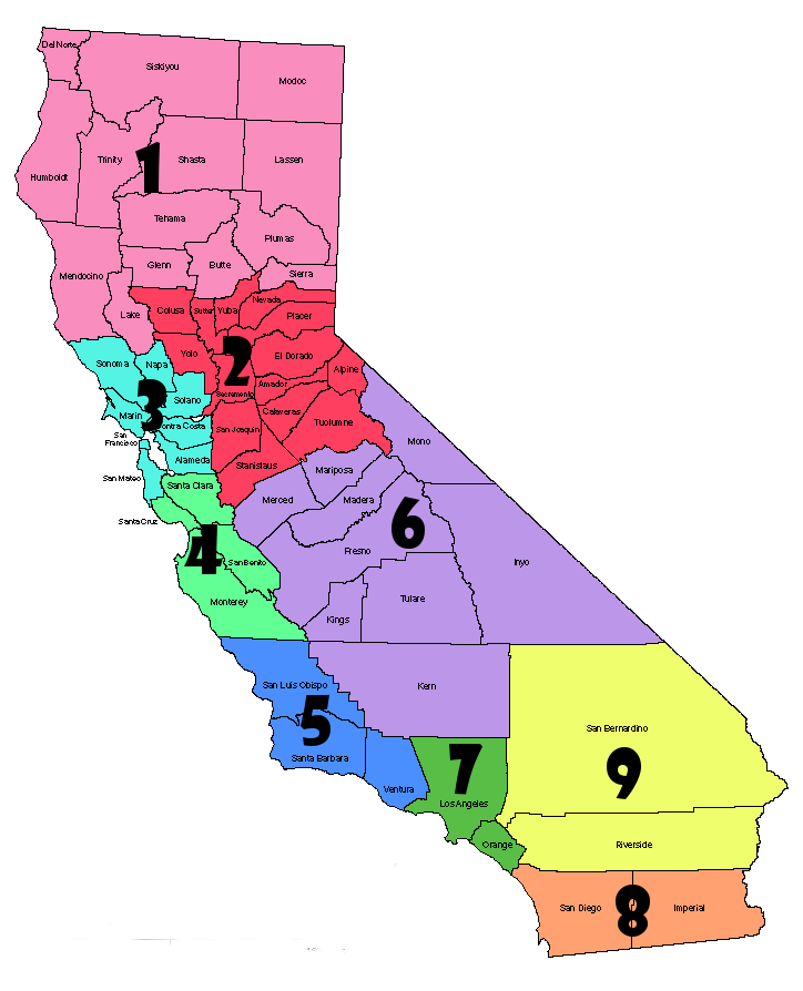 color coded CA map by region. Please see region list to the right for more information
